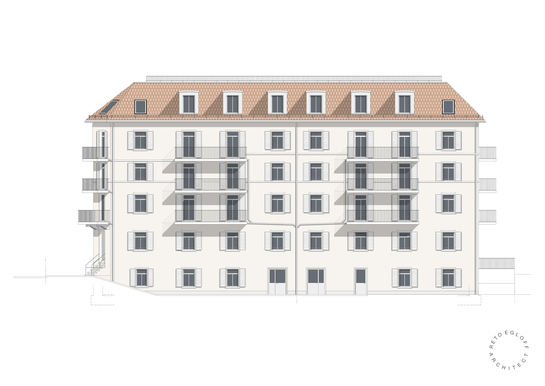 Plan Südfassade Bürglistrasse 2-4 SG